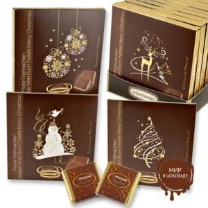 Новогодние открытки с шоколадками, 16 шт.