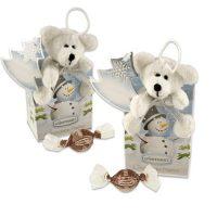Белый плюшевый медведь на коробочке с конфетами, 12 шт.