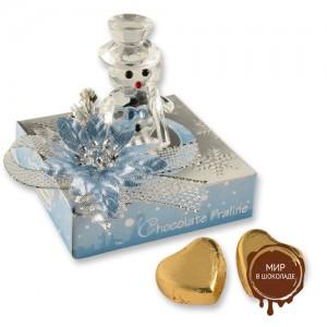Снеговик из кристаллов на коробочке с шоколадными сердечками, 12 шт.