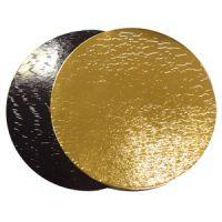 Подложка картонная усиленная золотой/черный D38 см,, 35 шт.