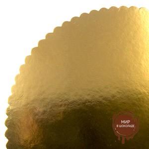 Подложка Фигурная круглая золото, 20 см, 50 шт.