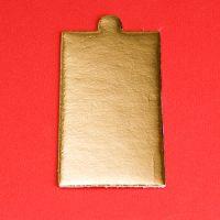Подложка картонная прямоугольная с ручкой 9*5 см золото, 200 шт.