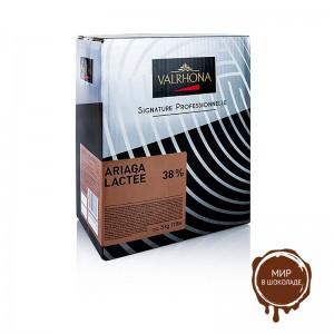 Молочный шоколад Ariaga в дисках, 38% какао, Valrhona, 5 кг.