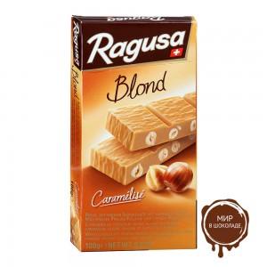 Белый шоколад Ragusa Blond с трюфельной начинкой и целыми лесными орехами   100г.