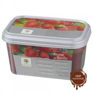 Замороженное пюре Клубника/Базилик/Мята в блоке Ravifruit, 1 кг.