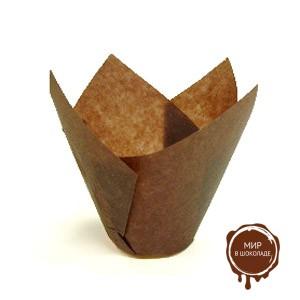 Форма бумажная  ТЮЛЬПАН 110/40 мини коричневая (короб 250 шт.)