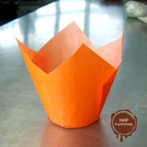 Форма бумажная  ТЮЛЬПАН 158/50 оранжевая (короб 1800 шт.)