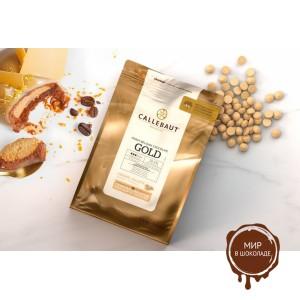 БЕЛЫЙ ШОКОЛАД GOLD С КАРАМЕЛЬЮ 35%, галеты, Callebaut, 2,5 кг.