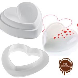 Форма силиконовая Сердце+вырубка , 1 шт.