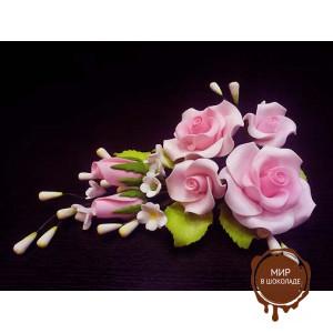 """Цветы из мастики - """"Букет роз"""", Розовый  шт. 11942*B/p"""