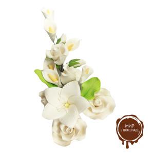 """Цветы из мастики - """"Букет цветов"""", Белый ,(11944*G/P). шт."""