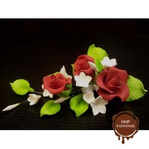"""Цветы из мастики - """"Букет роз с колокольчиками"""", Красный (11101/p), шт."""