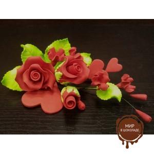 """Цветы из мастики - """"Букет роз с сердцами"""", Красный (11103/p), шт."""