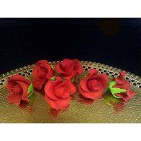 """Цветы из мастики - """"Бутоны розы"""", Красные, 6шт. (11113*D/p), уп."""