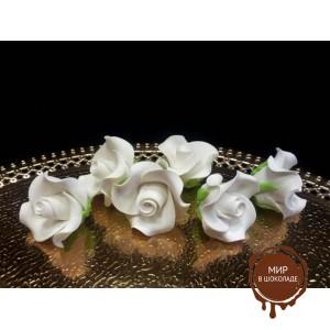 """Цветы из мастики - """"Бутоны розы"""", Белые, 6шт. (11113*G/p), уп."""