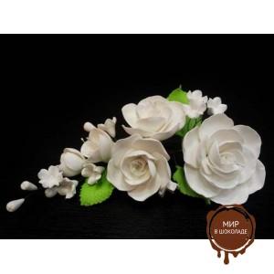 "Цветы из мастики - ""Букет роз"", Белый (11181*Gi/p), шт."