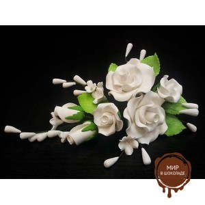 "Цветы из мастики - ""Букет роз"", Белый (11186*Gi/p), шт."