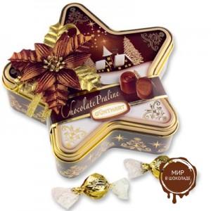Новогодняя металлическая звезда с конфетами, 12 шт.
