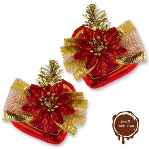 Шоколадное сердце с новогодним декором, 16 шт.
