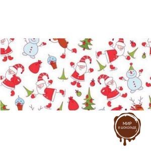Бордюрная лента пленка Дед Мороз для обтяжки тортов 40 мкм., h 50 мм, 510 м, 1 ролик