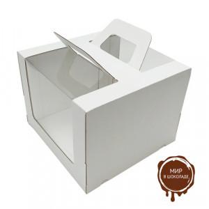 """Гофрированная коробка для торта серия """"Fupeco RWinCakeHandBox"""" c ручками и круговым окном 260*260*200 от 1 до 3 кг бел/бел (Д 15-26см)"""