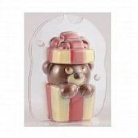 """Форма для отливки шоколадных фигурок - """"Мишка в подарке"""" (MAC 408S), шт."""