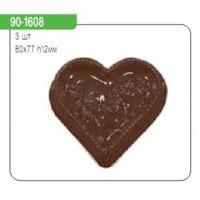 """Форма для отливки шоколадных фигурок - """"Сердце с ажурным рисунком"""" (90-1608), шт."""