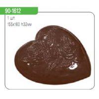 """Форма для отливки шоколадных фигурок - """"Сердце с розой"""" (90-1612), шт."""