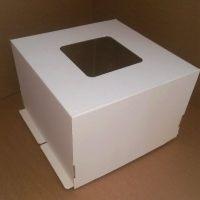 Коробка для торта с окном- Белая 420х420х450мм, 10 шт.