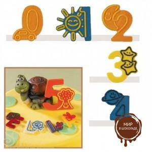 """Набор форм для создания шоколадных конфет с рисунком - """"Веселые цифры """"0-4"""", 2шт. (P20-C021), уп."""