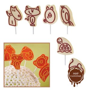 """Набор форм для создания шоколадных конфет с рисунком - """"Животные"""", 2шт. (P20-C017), уп."""