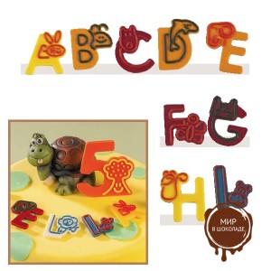 """Набор форм для создания шоколадных конфет с рисунком - """"Веселые буквы A-I"""", 2шт. (P20-C018), уп."""