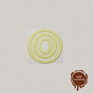 Декор из шоколадной глазури Кольцо тройное белое 71 мм, 96 шт.