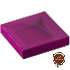 Коробка для 6 конфет лиловая картон и пластик, 10,5х10,5х2 см