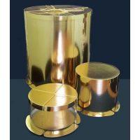 Картонная круглая коробка- тубус c усиленным дном для тортов, золото, 400/213