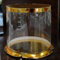 Прозрачная круглая коробка- тубус c усиленным дном для тортов,  золото, размер   450/355