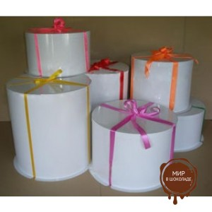 Картонная круглая  коробка- тубус c усиленным дном для тортов,  белая,  450/142