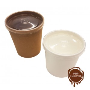 Контейнер для мороженого белый с пластиковой крышкой  КРАФТ 340 мл,  250 шт.