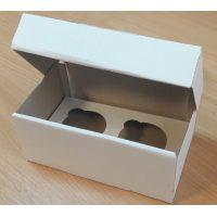 Коробка для кексов на 2 шт., из бел/бел мелованного картона. Размер 190*100*110 мм.