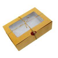 Коробка картонная для капкейков на 6 шт, с прозрачным окном, из бур/бел крафт картона. Размер 250*160*110 мм.