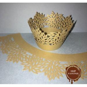 Ажурные капсулы для капкейков, цвет золотой перламутровый, высота 5 см.