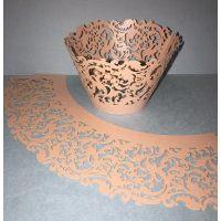 Ажурные капсулы для капкейков, цвет розовый перламутровый, высота 5 cм.