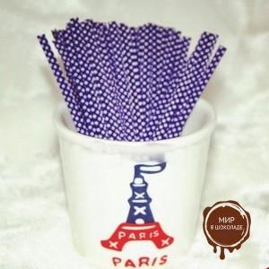 Застежка для пакетов фиолетовая в горох  (100 шт)