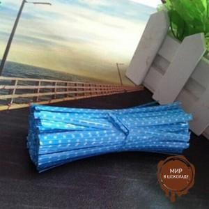 Застежка для пакетов голубая в горох  (100 шт)