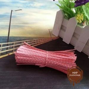 Застежка для пакетов розовая в горох  (100 шт)