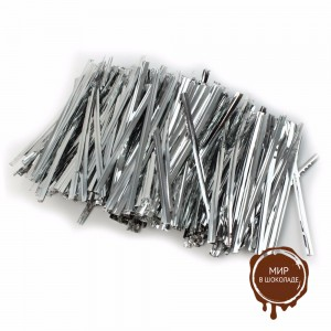 Застежка для пакетов серебро  (100 шт)