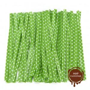 Застежка для пакетов зеленая в горох  (100 шт)