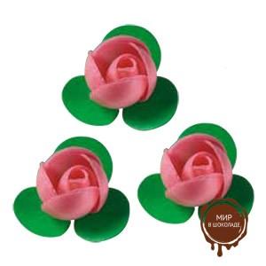 Вафельный цветок Розочка розовая, короб 200 шт.