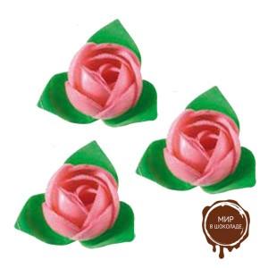 Вафельный цветок Роза розовая (короб 200 шт.)