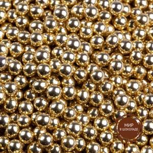 Шарики сахарные золотые 5 мм. (пакет 100 гр.)